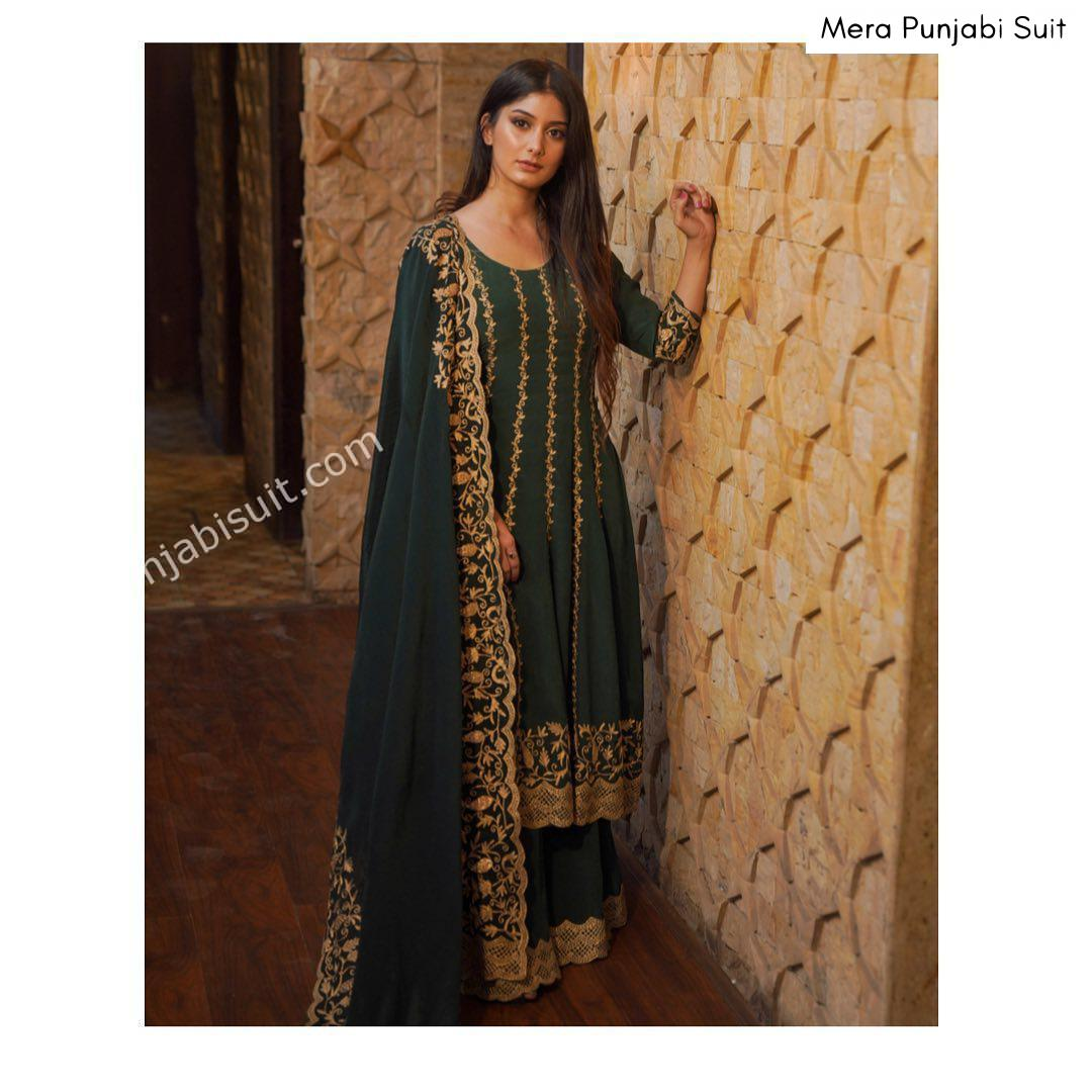 heavy green embroidered anarkali with sharara with dupatta boutique suit punjabi