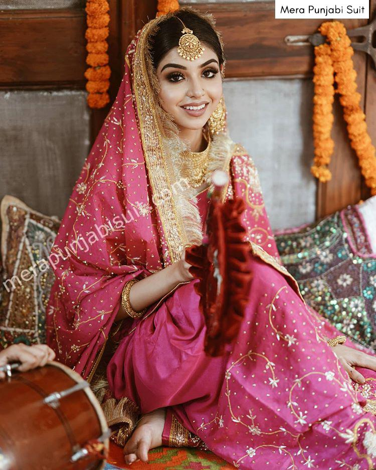pink embroidered dupatta and embroidered salwar - hand work