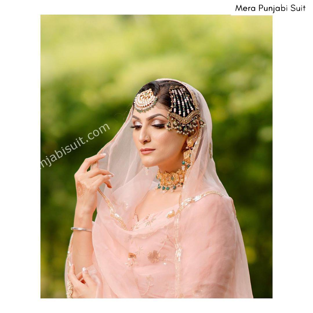 Punjabi Baby pink organza suit embroidered with side tikka