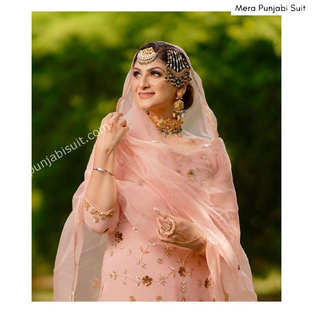 New Punjabi Suit Designs 2020 October - baby pink organza suit embroidered